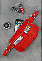 Женская поясная сумка Spirit кожаная (красная), фото 1
