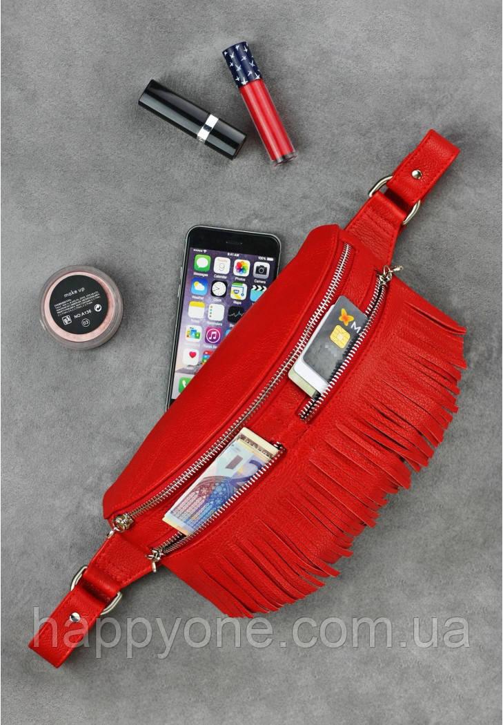 Женская поясная сумка Spirit кожаная (красная)
