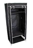 🔝 Тканевый шкаф, черный, односекторный, портативный шкаф для одежды | 🎁%🚚