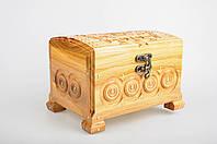 Прямоугольная светлая шкатулка ручной работы из натурального дерева декорированная металлом 16.5*12*11.5 см, фото 1