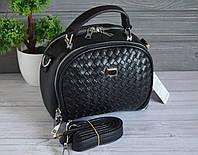 Женская черная стеганная сумочка, фото 1