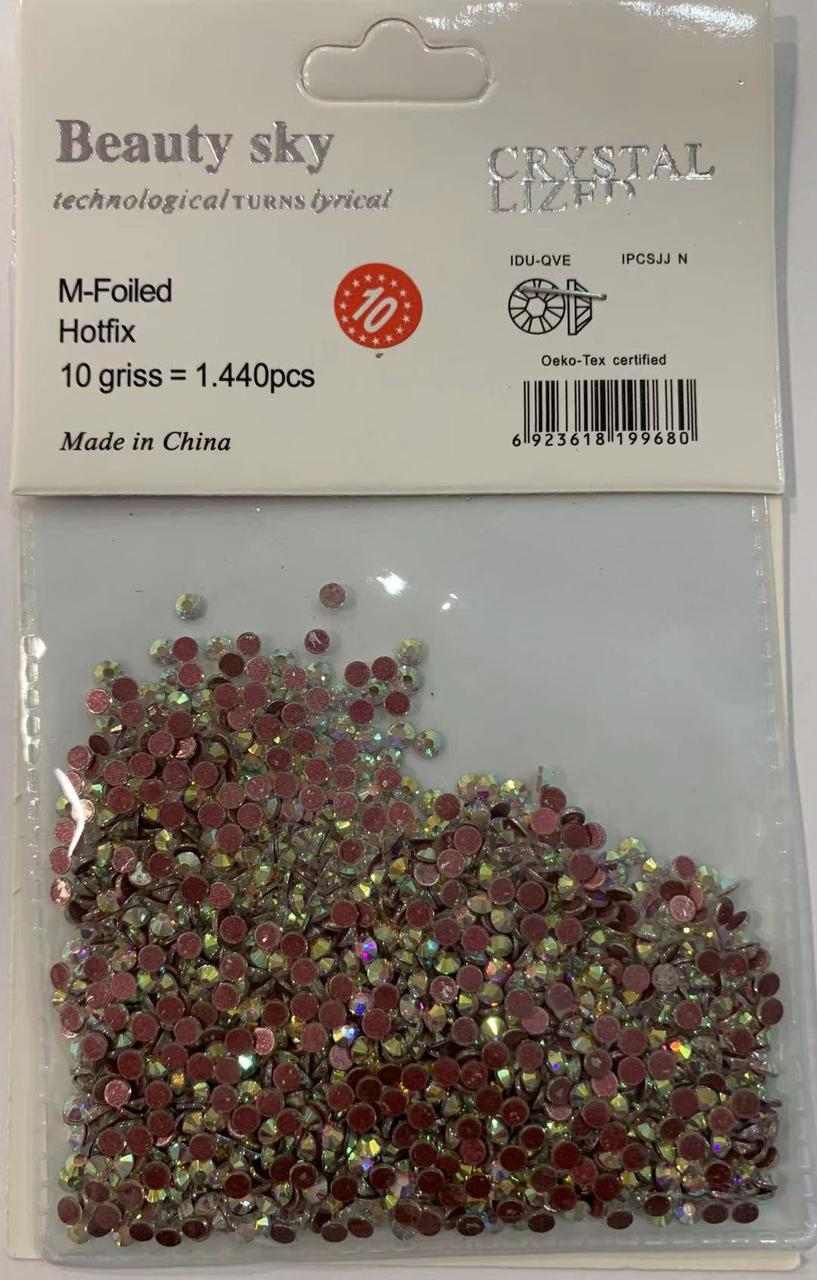 Стразы для декора ногтей розовый хамелеон 1440 шт, одного размера №10