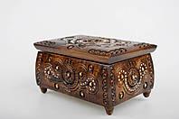 Прямоугольная шкатулка ручной работы из натурального дерева декорированная металлом, бисером  16*11*8.5 см, фото 1