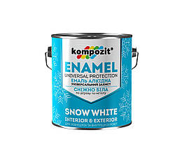 Эмаль алкидная для дерева и металла снежно-белая Kompozit 0,9кг (матовый) (Композит)
