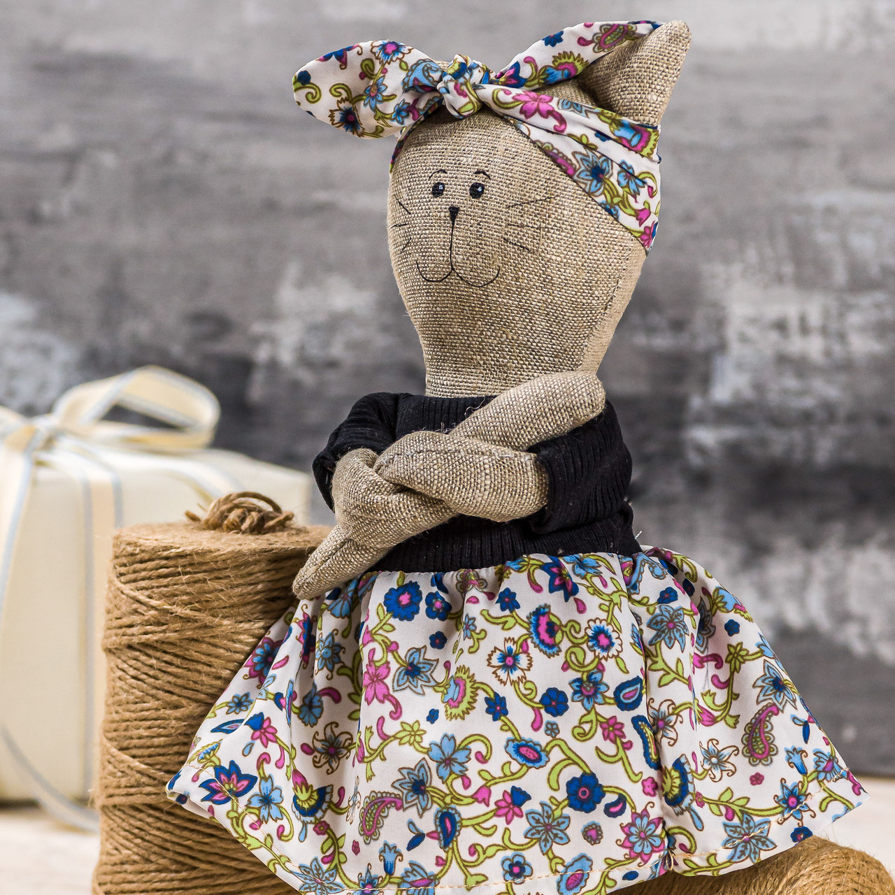 "Мягкая игрушка ручная работа лен кошка Светло-розовый высота 33 см  ""звірята-хіпстерята"" киця одежда снимается"