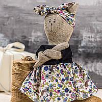 "Мягкая игрушка ручная работа лен кошка Светло-розовый высота 33 см  ""звірята-хіпстерята"" киця одежда снимается, фото 1"