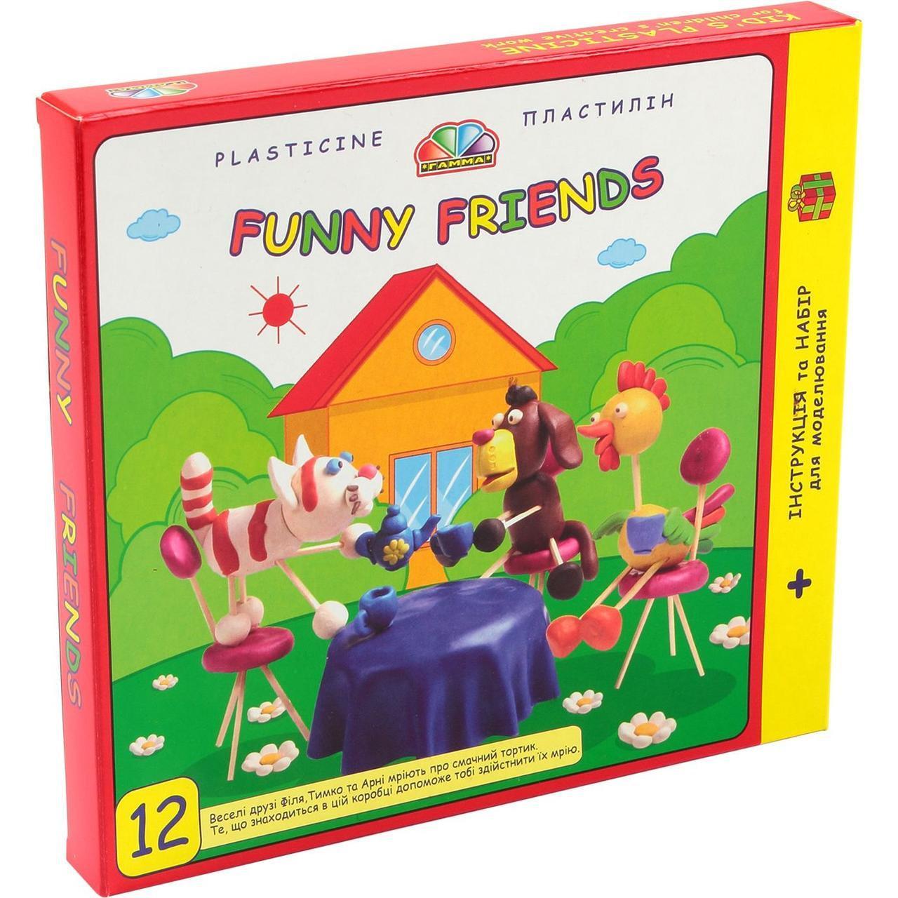"""Пластилин """"Веселі друзі"""" 12 цветов, 180 г в картонной упаковке ГАММА-Н 331017"""