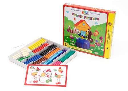 """Пластилин """"Веселі друзі"""" 12 цветов, 180 г в картонной упаковке ГАММА-Н 331017, фото 2"""