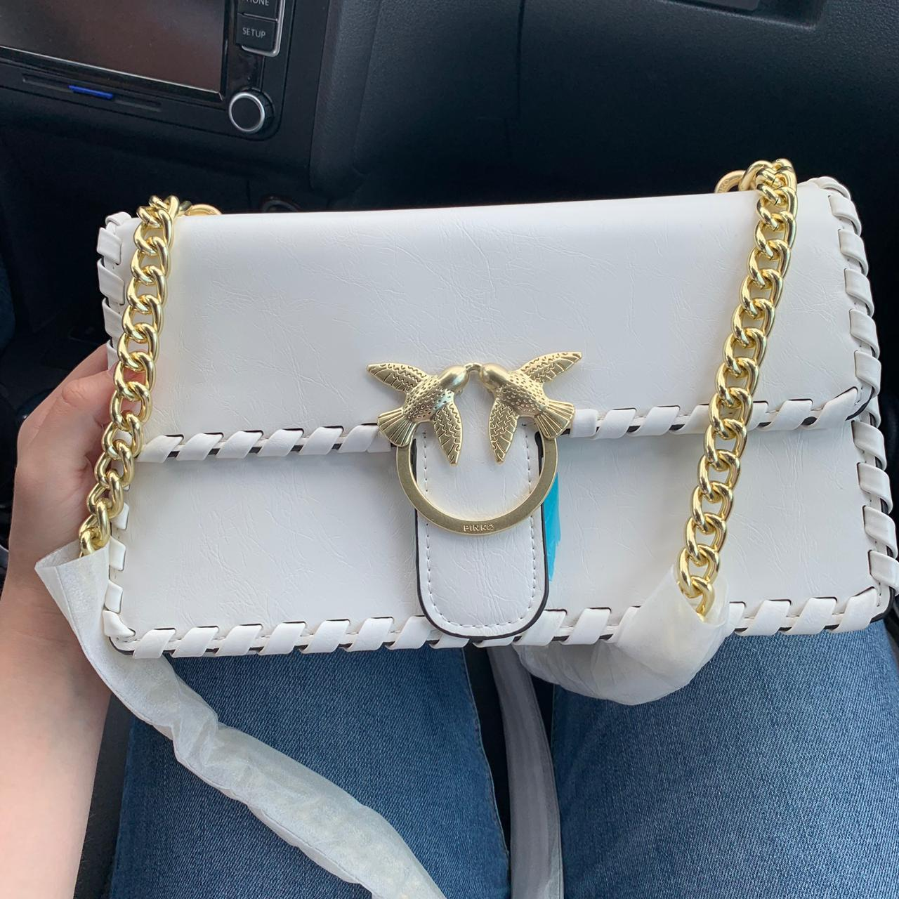 Женская сумка Pinko (Пинко) Luxe, белая с золотом