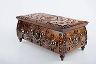 Прямоугольная шкатулка ручной работы из натурального дерева декорированная металлом, бисером  21*11*9 см, фото 1