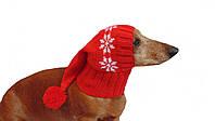Шапка Санты для собаки вязанная универсальная, фото 1