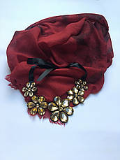 Шарф женский бордовый весна-осень Lafeny, фото 3