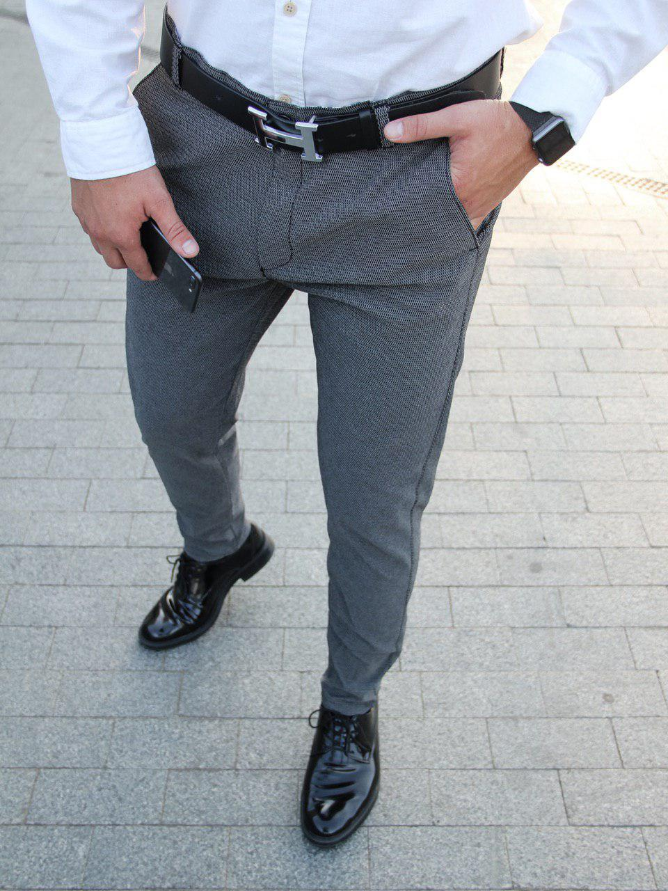 Мужские брюки классические серые