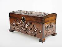Прямоугольная шкатулка ручной работы из натурального дерева декорированная металлом, бисером  21.5*11.5*11 см, фото 1
