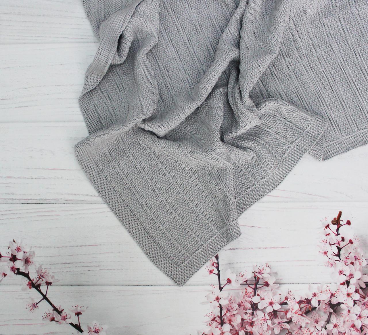 Плед вязанный полоска цвет серый 95*75 см (90% хлопок, 10% акрил)