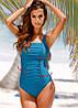 Слитный женский купальник больших размеров синий з