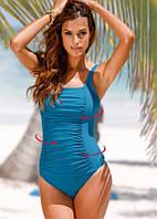 Слитный женский купальник больших размеров синий з, фото 1