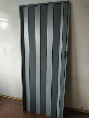 Дверь гармошка глухая серая 915 81*203*0,6 см раздвижная, фото 2