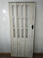 Дверь гармошка полуостекленная 860х2030х12мм  дуб беленый 907, доставка по Украине