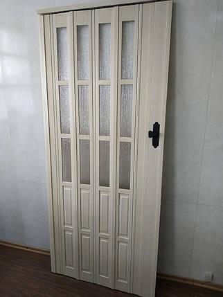 Дверь гармошка полуостекленная 860х2030х12мм  кедр 911 доставка по Украине, фото 2