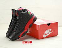 Кроссовки мужские  Nike Air Jordan 13 в стиле Найк Аир Джордан 13 черные с красным