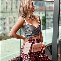 Набор женских кожаных сумок MINI поясная/кроссбоди, розовый, фото 1