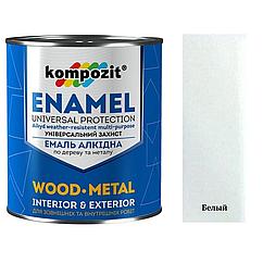 Алкидная эмаль для дерева и металла ПФ-115 Kompozit 0.9кг (Белый) (Композит)