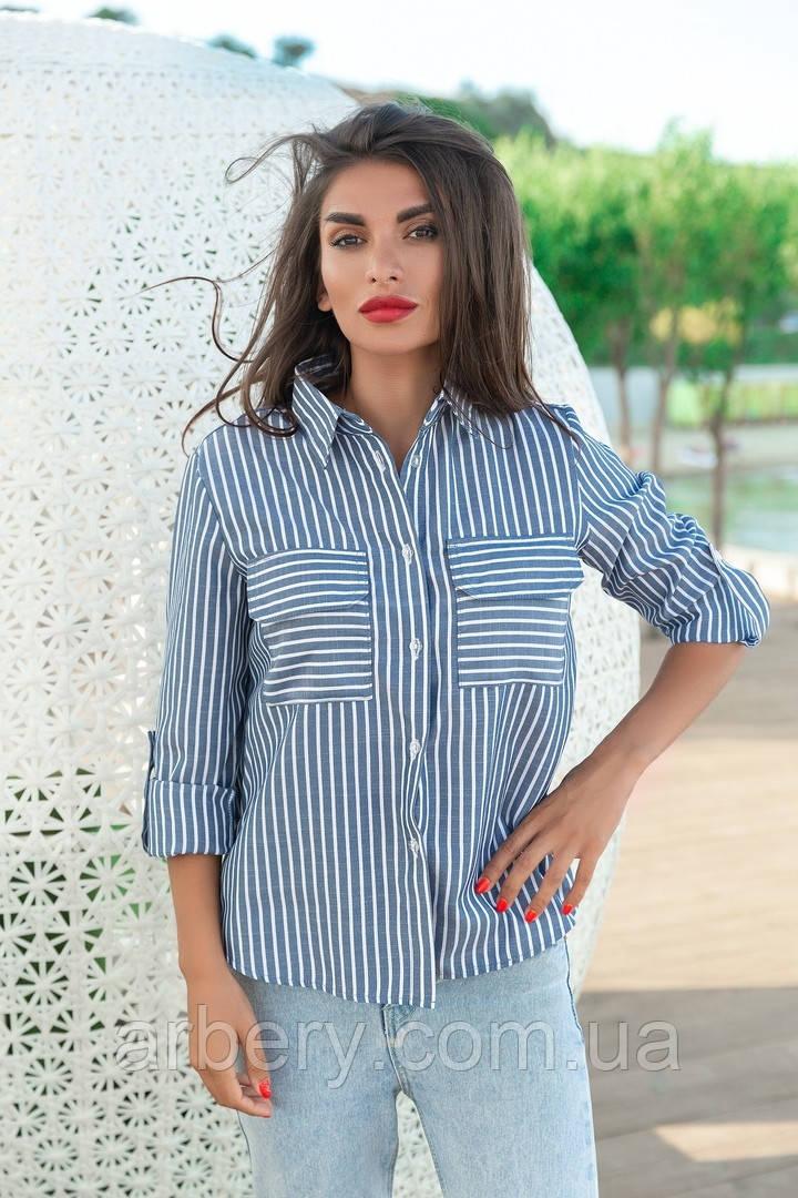 Женская модная блуза в полоску