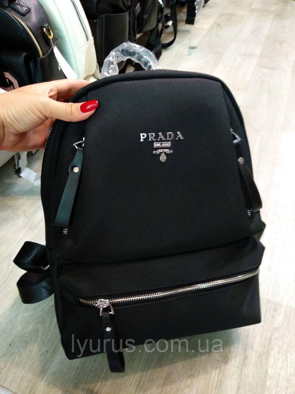 Рюкзак женский повседневный  Prada черного цвета