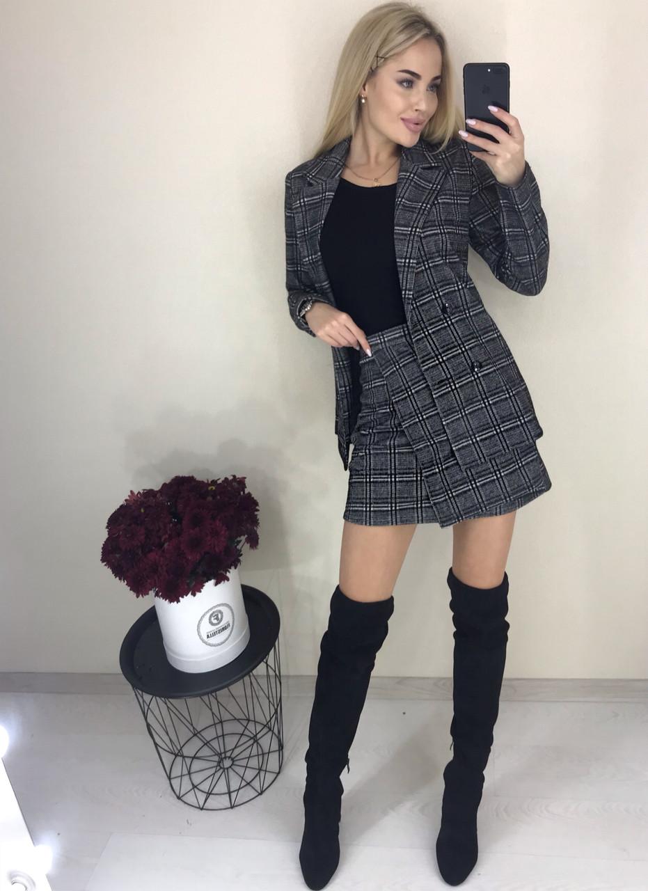 Стильный костюм-двойка пиджак и юбка /темно-серый в клетку, 42-46, ft-423/