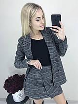 Стильный костюм-двойка пиджак и юбка /темно-серый в клетку, 42-46, ft-423/, фото 3