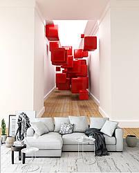 """3D фотообои """"Красные кубики"""""""