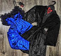 Велюровый комплект халат+майка+шорты, домашняя одежда женская.