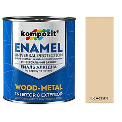 Алкидная эмаль для дерева и металла ПФ-115 Kompozit 0,9кг (Бежевый) (Композит)