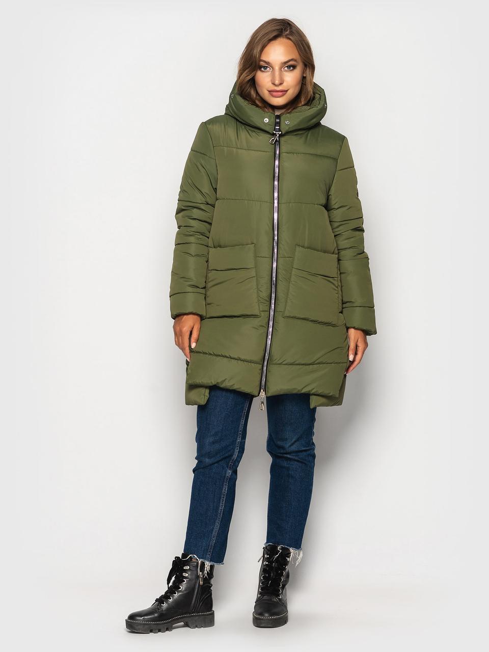Модная зимняя куртка Лузанна хаки(44-54)