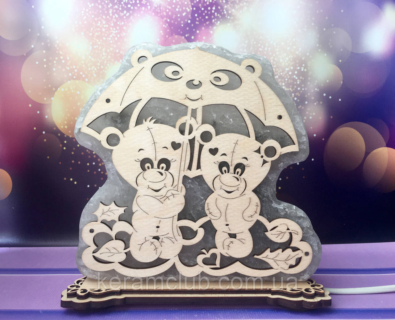 Соляной светильник Мишки под зонтом 19*20*6 см, фото 1