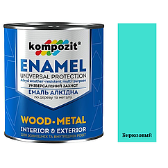 Алкидная эмаль для дерева и металла ПФ-115 Kompozit 0,9кг (Бирюзовый) (Композит)