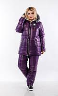 Женский зимний комбинезон стеганый дутый лыжный на синтепоне и овчине, фиолетовый батал