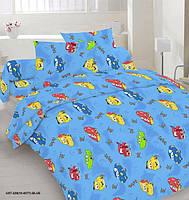 """Детский полуторный комплект постельного белья """"Маквины на голубом"""""""