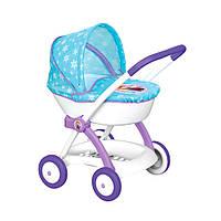 Кукольная коляска Фроузен с люлькой, голубая с рисунком, Smoby (254146)
