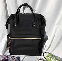 Сумка рюкзак черная женская ткань Оксфорд городская для покупок для прогулок и путешествий легкая и объемная