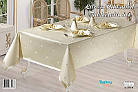 Скатерть прямоугольная  Rozalite Set 160х220 +8 салфеток 35х35,  Gold, Турция, фото 1