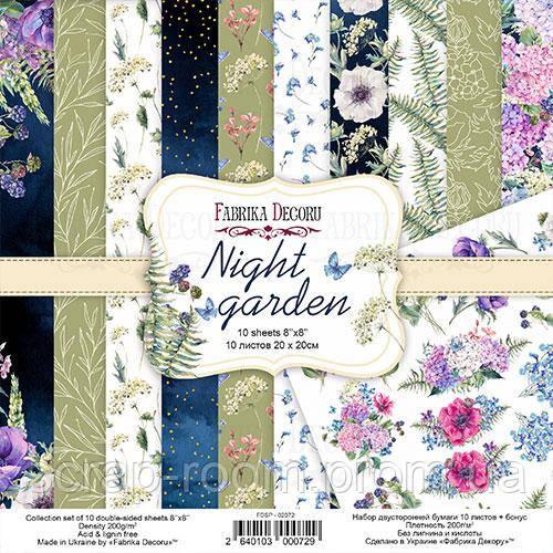 """Набор скрапбумаги """"Night garden"""" 20x20см Фабрика Декора"""