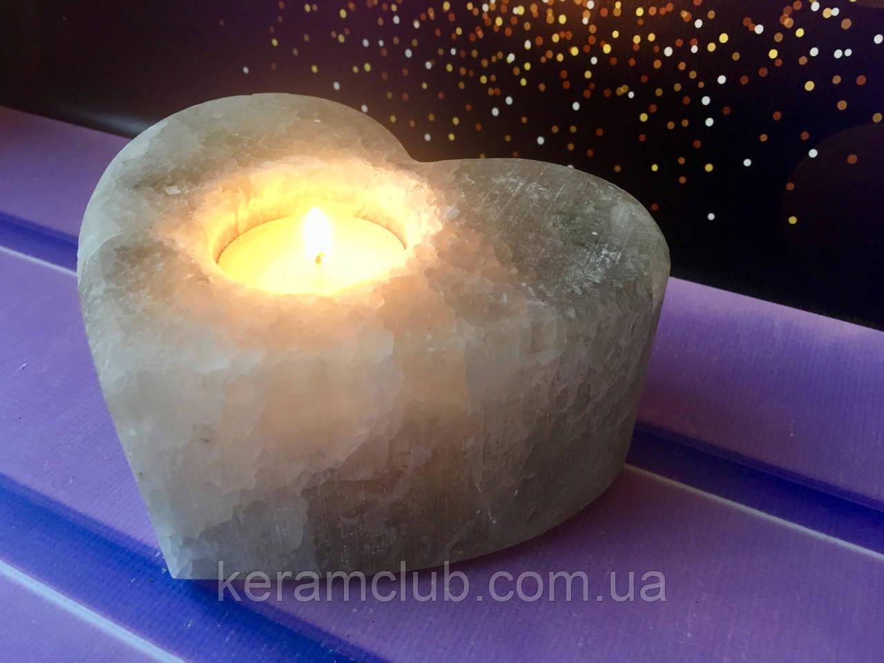 Подсвечник из соли сердце 13*13*6 см