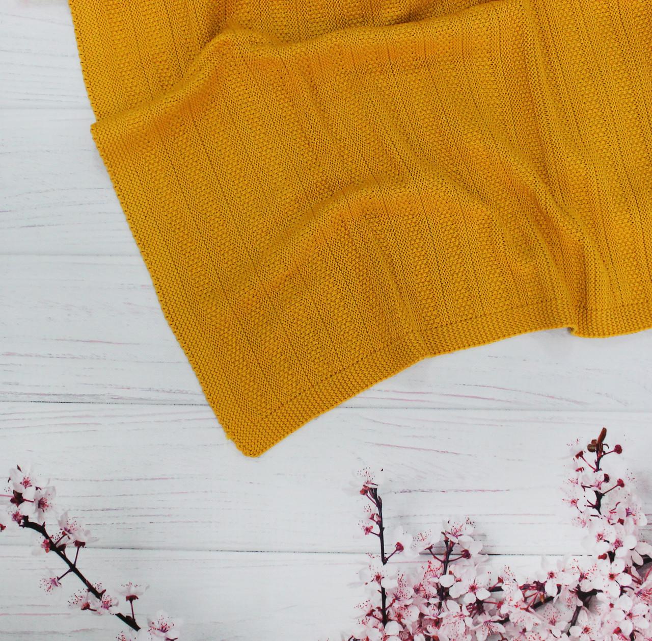 Плед вязанный полоска цвет горчичный  95*75 см (90% хлопок, 10% акрил)