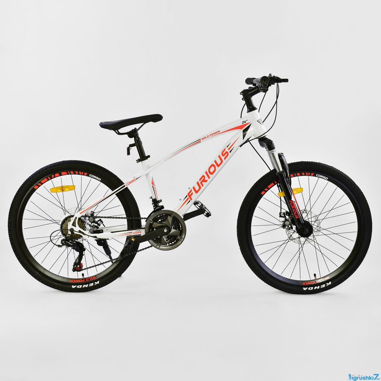 Одноподвесный подростковый велосипед хардтейл 24 дюйма 13 рама CORSO FURIOUS