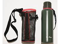 T144-31 Термос 500 мл с чехлом, Термос из нержавейки, Термос с ручкой, Термос питьевой, Вакуумный термос