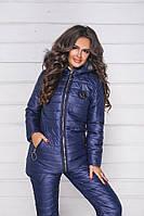 Зимний теплый спортивный костюм, лыжный стеганый синтепон дутый женский, синий утепленная куртка на овчине