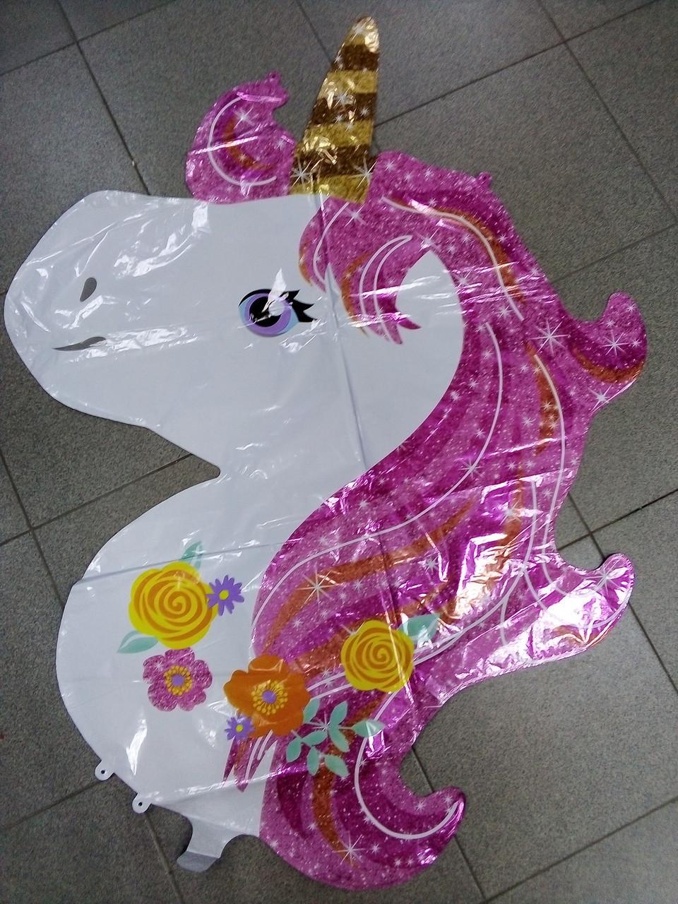 Воздушный шар фольгированный, фигурный единорог с розовой гривой 1шт