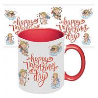 Чашка с принтом 64101 Ангелы любви (красная)